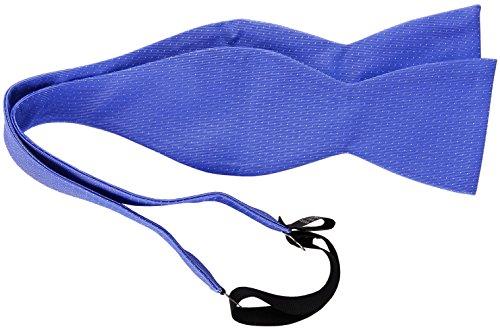 TigerTie Selbstbinder blau in silber gepunktet, Fliege 100% pure Seide