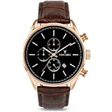 Vincero Luxury Men's Chrono S Wrist Watch — Rose Gold with Brown Leather Watch Band — 43mm Chronograph Watch — Japanese Quartz Movement