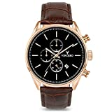 Vincero Luxury Men's Chrono S Wrist Watch - Top Grain Italian Leather Watch Band - 43mm Chronograph Watch - Japanese Quartz Movement (Rose Gold)