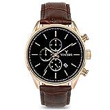 Vincero Luxury Men's Chrono S Wrist Watch - Top Grain Italian Leather Watch Band - 43mm Chronograph Watch - Japanese Quartz Movement… (Rose Gold)