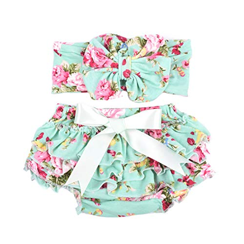 Baby girl's bloomer and headband set with big bow diaper covers glabloomer, Green, 0-6 month