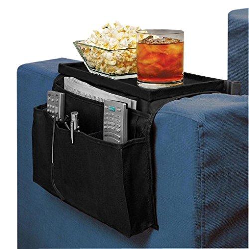 Moonlove - Organizador para colgar sobre el sofá y reposabrazos de almacenamiento, antideslizante, bolsillos con bandeja, organizador para aperitivos, tazas de café, gafas, bolígrafos de cable