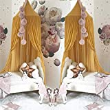 jsadfojas Moskitonetz Baby Baldachin Betthimmel Kinder Bett Hängende Moskiton für Reise und Zuhause Zeit Höhe 240 cm (240 x 260 cm, Ingwer gelb1) - 3