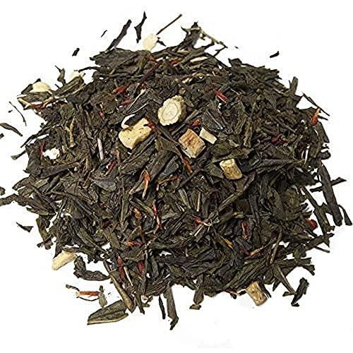 Aromas de Té - Té Verde Ginseng Coreano Pasión - Con Té verde, Raíz de Ginseng, Trozos liofilizados de Fruta de la Pasión y Aromas - Estimulante - Vitaminas A y C - 100 gr