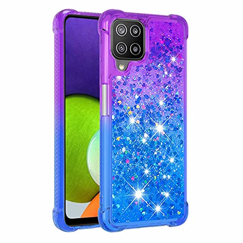 Molg Compatible con Funda Samsung Galaxy A22 4G Serie de Degradado Flotante Glitter Brillante Suave TPU Bumper Silicona Antigolpes Funda Protectora-Morado Arriba y Azul Abajo
