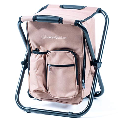 Ultralight Backpack Cooler Chair - Compact Lightweight and Portable Folding Stool - Perfect for Outdoor Events, Travel, Hiking, Camping, Tailgating, Beach, Parades & More