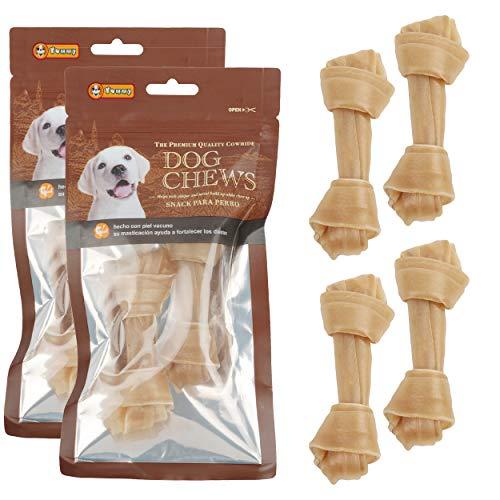 Nodo per cani, delizioso, snack per cani, a forma di osso, antistress e rinforzante dei denti, 100% pelle di mucca, 16,5 cm, 4 pezzi