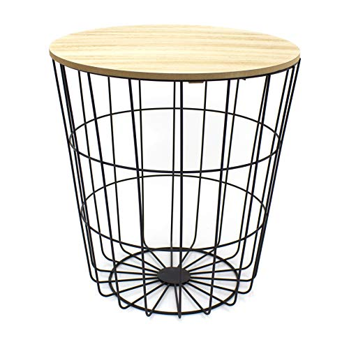 Carousel Home and Gifts Round Wooden Top Black Wire Occasional Side Table ~ Modern Storage Bedside Table With Lid