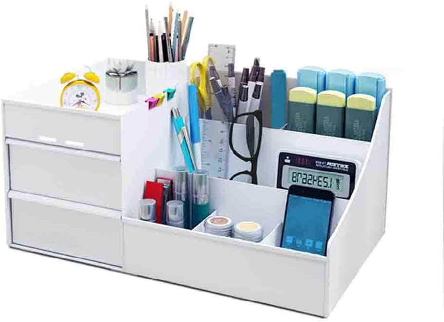 Amazon Com Creative Office Desk Pen Holder Rectangle Useful Pen Organizer With Two Drawers Durable Stain Resistant Desktop Decoration Stationery Supplies Organizer White 35 5x16 5x22 5cm 14x6x9inch Office Products