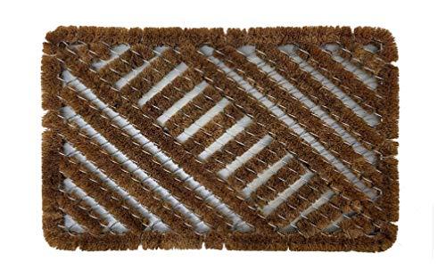 LucaHome - Felpudo Kiev de Fibra de Coco y Metal Rectangular 40x60cm Entrada a casa, Felpudo Rectangular y semicirculo