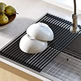 Kraus KRM-10BLACK Silicone-coated stainless steel Over the Sink Multipurpose Roll-Up Dish Drying Rack, 20.5 x 12.7 x 1/4 inches, Black