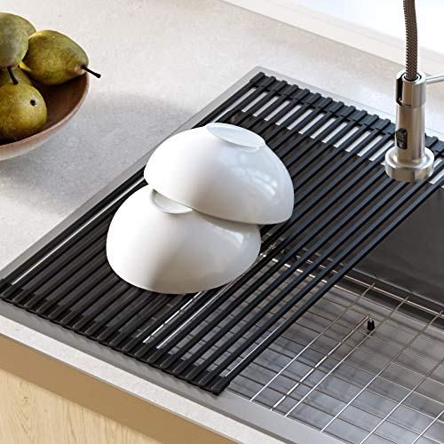 Kraus KRM-10BLACK Silicone-coated stainless steel Over the Sink Multipurpose Roll-Up Dish Drying Rack, Black