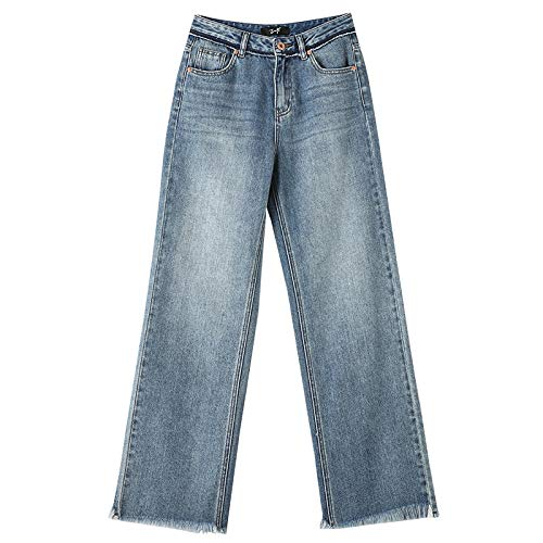 Ladies Mopping Jeans Casual All-Match Raw Edge Wide Leg Jeans Ladies Autumn