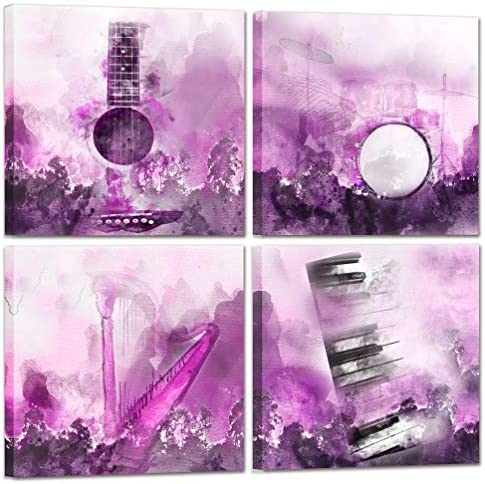 Music Wall Art Bedroom Wall Decor For Couples Musical Instruments Abstract Artwork Love Funny product image
