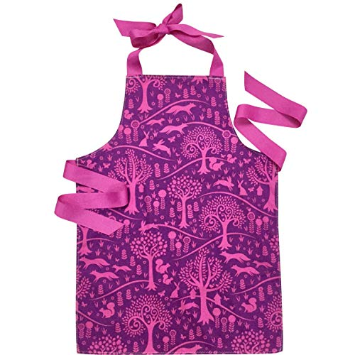 Purple Woodland Rabbit and Fox Tween Girl Apron for Baking Art or Crafts