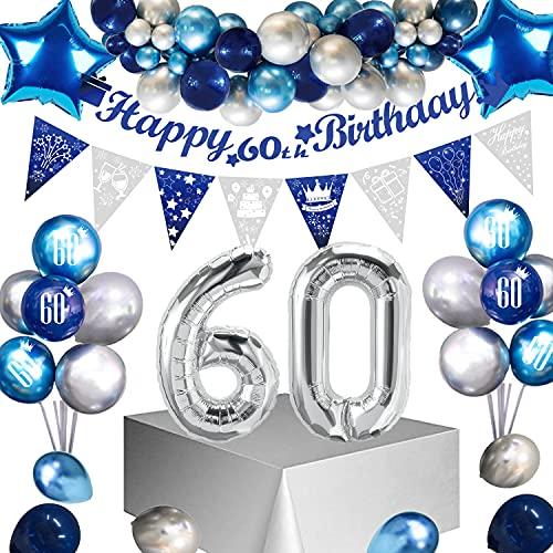 Sumtoco Deko 60 Geburtstag Mann, Blau Silber Geburtstagsdeko 60, Luftballon 60. Geburtstag Golden, Happy Birthday 60 Jahre Girlande, Folienballon 60 Konfetti Ballon für Männer 60. Dekoration… (60)