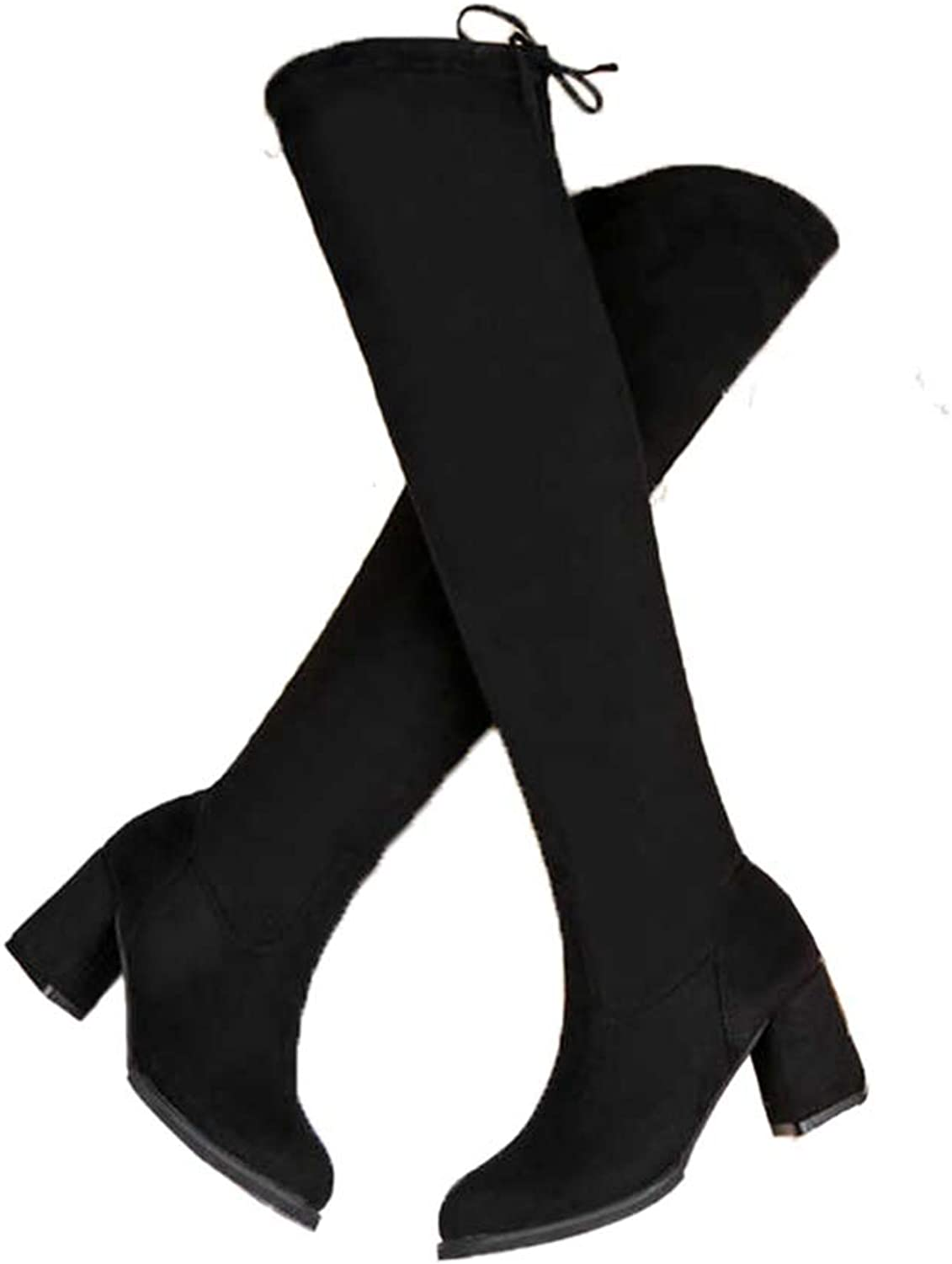 GEORPE Over The Knee Heels Square Heel Lace-Up Suede Thigh High Boots