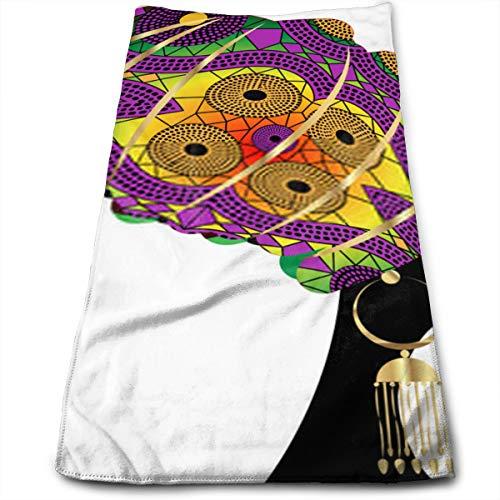 YudoHong Retrato Mujer Africana Piel Oscura Rostro Femenino con Cabello Brillante Gafas de Sol Afro y con Purpurina Dorada en Peinado Tradicional Turbante Dorado étnico