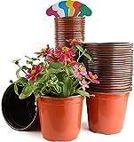 Jardinux 50 Pots de Fleur, Pots de semis 15cm Intérieur Extérieur avec 30 Etiquettes et 1 Ebook astuces pour Votre Futur Potager, Godet Semis Pépinières, Pot de repiquage, Pot de Germination