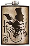 The Inventor Scientist Penny-Farthing Flask -8oz Stainless Steel Flask - Comes in a Gift Box - by Trixie & Milo