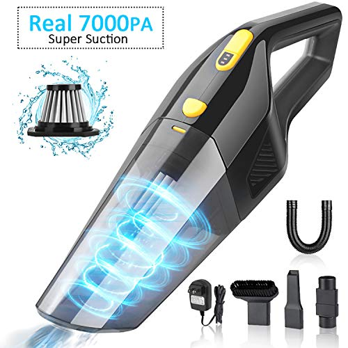 Handheld Vacuum Cordless, 7KPA Rechargeable Portable Hand Vacuum Cleaner, Strong Suction Wet Dry Clean Lightweight Mini Hand Vac Hand Held Car Vacuum for Home Household Car Cleaning