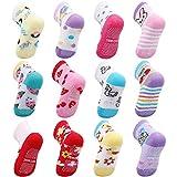 OKPOW [12 pares] Calcetines de algodón antideslizantes - Cálidos y suaves para bebés de 18-24 meses - Color oscuro
