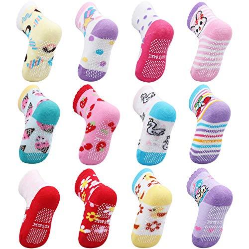 OKPOW Baby Socken 12 Paar Baumwolle Socken Rutschfeste Socken Bunte Socken für 0-5 Jahre alt Kleine Kinder Junge Mädchen