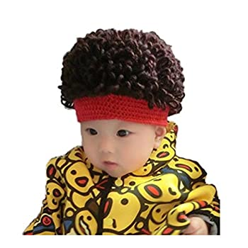WeeH Kids Wig Hats Halloween Costume Cosplay Winter Kinnted Hat for Boy Girl  Red