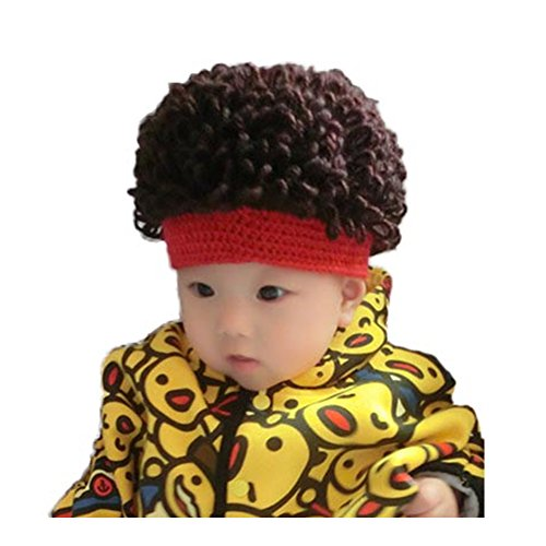WeeH Kids Wig Hats Halloween Costume Cosplay Winter Kinnted Hat for Boy Girl (Red)