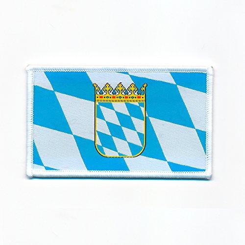 hegibaer 50 x 30 mm Bayern Flagge mit Wappen München BRD Patch Aufnäher Aufbügler 0723 A
