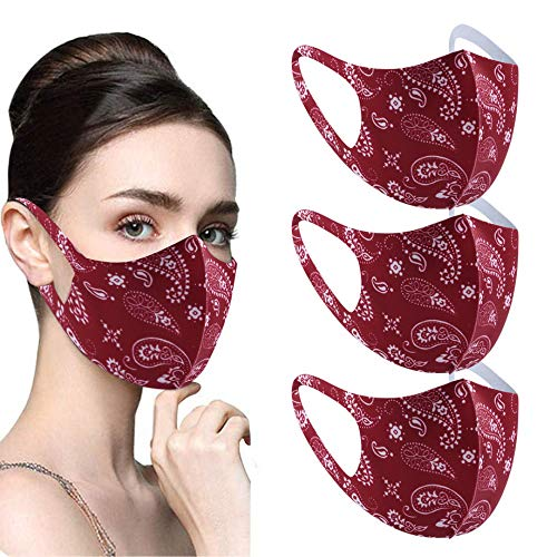 ldgr 3Pcs Men Women Fashion Colorful Printing,Washable Reusable Windproof Dust-Proof,Soft Ice Silk Face Protective for Working Out