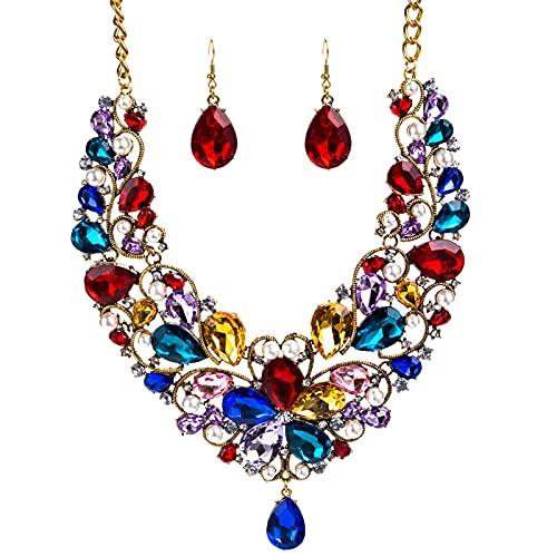 WLYX Conjunto Personalizado De 2 Piezas En Forma De Gota De Diamantes De Cristal, Conjunto De Collar Y Pendientes Nupciales (Color : Color)
