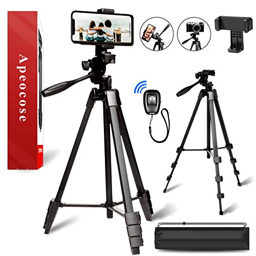 """Apeocose 55"""" Phone Tripod Stand w/Remote, Lightweight Travel Camera Tripod for iPhone, Wireless Bluetooth Remote Shutter and 360 Degree Rotatable Phone Tripod Mount, Cell Phone Tripod for iOS&Android"""