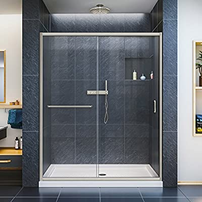 DreamLine Infinity-Z 56-60 in. W x 72 in. H Semi-Frameless Sliding Shower Door, Clear Glass in Brushed Nickel, SHDR-0960720-04