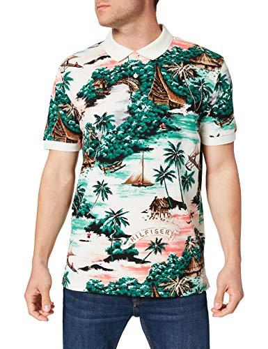 Tommy Hilfiger All Over Hawaiian Print REG Polo Camisa, Blancanieves/Multi, L para Hombre
