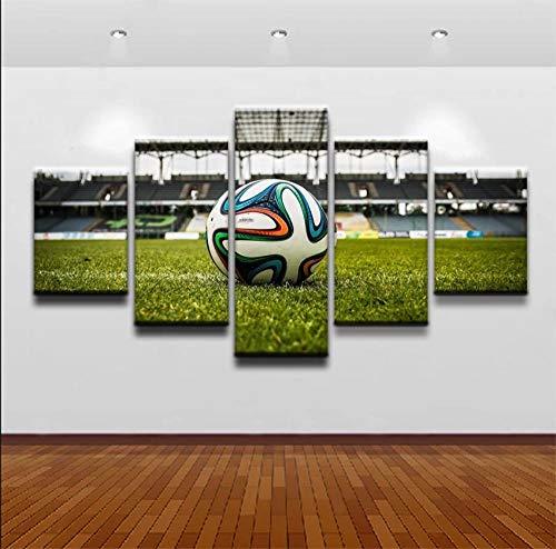 baixiangguo Decoración De Arte De Pared Pintura De Lienzo Cocina 5 Paneles Impresiones Modernas Imágenes para Sala De Estar Comedor (con Marco),Balón De Fútbol con Estadio-100 x 55 cm
