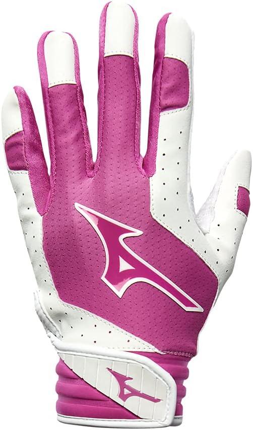 Mizuno Finch Youth Softball Padded Batting Glove, White-Pink, Me
