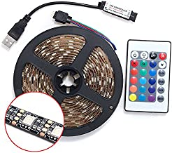 Auveach 2M 5V 5050 60SMD/M RGB LED Strip Lamp Bar TV Back Lighting Kit USB Remote Control Black