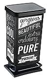 """Rotho 1754110228 Pattumiera """"Paso"""", 40 Litri, bidone blocca odori – 35.3x29.5x67.6 cm Cestino in Materiale plastico (PP) con Motivo, con meccanismo a Pedale per Aprire Il bidone, Nero"""