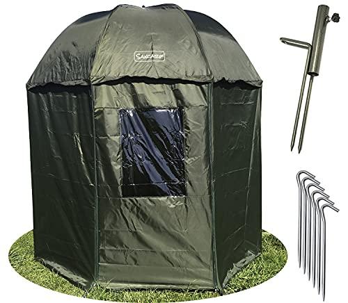 Paraguas de pesca Saxcarp 250 cm con protección contra el viento XXL con sombrilla de pared lateral para 3 adultos hombres con equipo de carpa + Paragüero gratis, clavijas, manta 90109