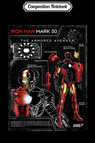 Composition Notebook: Iron Man Armor Plated Suit Blue Print Schematic  Journal/Notebook Blank Lined Ruled 6x9 100 Pages