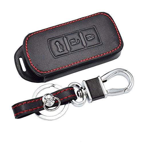 Happyit Leather Car Key Cover Cases Car keychain for Mitsubishi Outlander Lancer 10 EX Pajero Sport ASX RVR L200 3 Buttons Smart Key