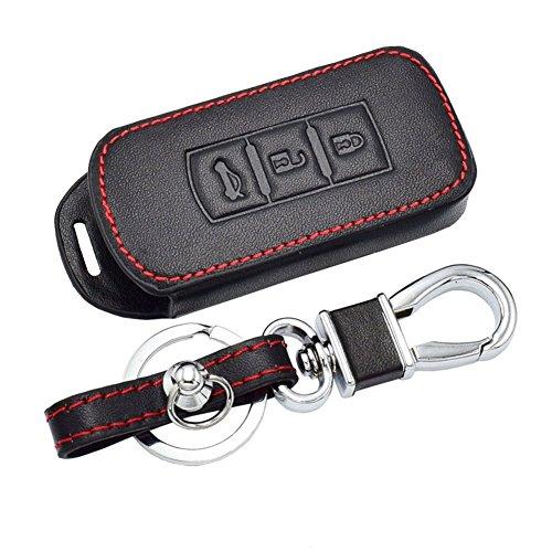 Happyit Leder Autoschlüssel Abdeckung Fällen Auto Keychain für Mitsubishi Outlander Lancer 10 EX Pajero Sport ASX RVR L200 3 Tasten Smart Key