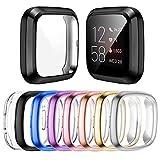Mocodi 8 Stücke Schutzhülle Kompatibel mit Fitbit Sense/Versa 3 Hülle, Vollständige Abdeckung Weiche TPU Cover Hülle Schutzfolie für Fitbit Sense/Versa 3 Smartwatch