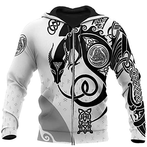 Nordic Mythology 3D Printed Viking Hoodie with Zipper, XS→7XL, Unisex Celtic Dragon Totem Long Sleeve Jacket, Pullover,Zip,XL