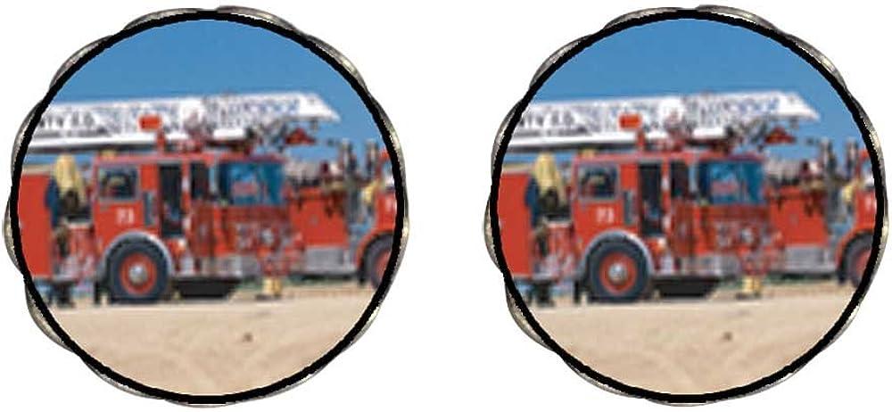 GiftJewelryShop Bronze Retro Style Fire Truck Photo Clip On Earrings Flower Earrings 12mm Diameter