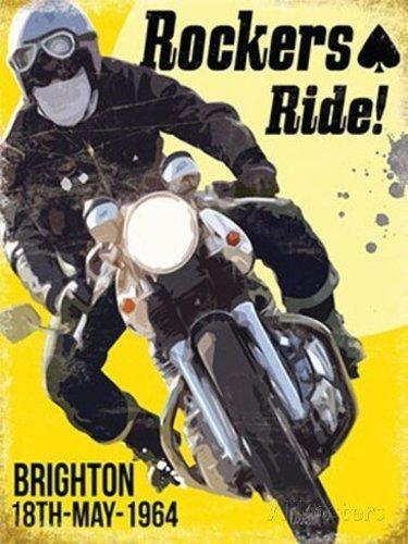 Rockers Ride! Moto Brighton Run 18 May 1964-Parent - 9 x 6.5 cm (Magnet)