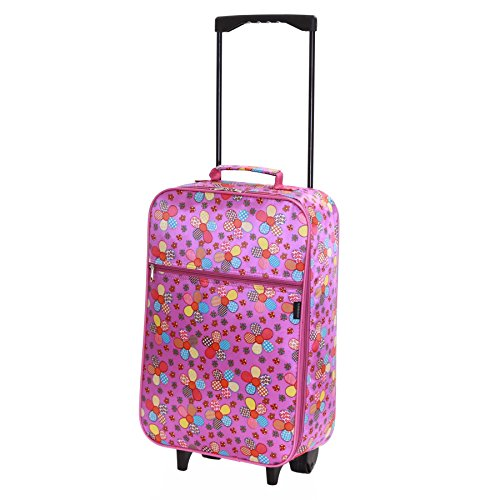 Slimbridge Kids Cabin Carry-on Hand Luggage Suitcase Bag Ultra Lightweight 55 cm 0.95 kg 27 litres 2 Wheels, Barcelona Lilac Flowers