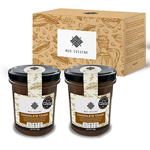 Med Cuisine Chocolate Tahini Spread - Pasta De Sésamo Con Cacao En Polvo - Tahini Vegano 100% Natural - Semillas De Sésamo Tostadas - Sin Gluten - Keto Y Paleo Dieta - Súper Alimento Para Untar 200g