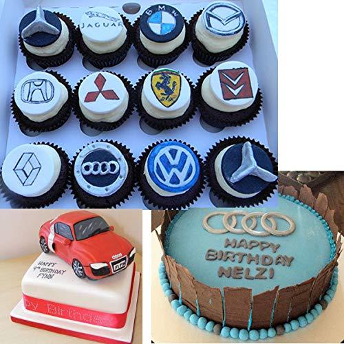 Anyana many Car Logo sign mould cake Fondant impression gum paste mold for Sugar paste gumpaste cupcake decorating topper decoration sugarcraft sugar biscuit decor
